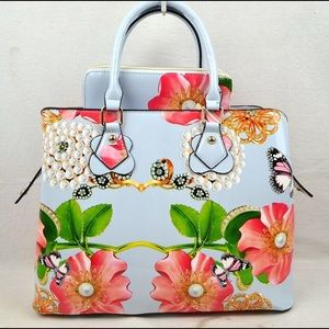 New***Cute Flower Designed Satchel with Purse
